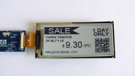 2.9寸黑白单色电子纸显示屏,超薄,可弯折电子墨水屏 GDEW029I6F