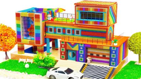 用巴克球玩具拼搭独栋公寓模型