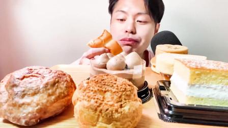 日本大叔今天吃烤布蕾冰淇淋、牛奶长崎蛋糕面包三明治、牛奶奶油巧克力蛋糕