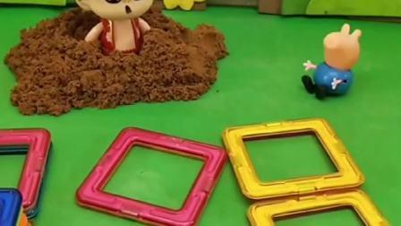大头把哪吒的磁力片房子拆了,哪吒很伤心,懂事的乔治给他修好