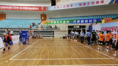 2020年杯江西省第六届全民健身运动会气排球比赛女子中年组冠亚军决赛南昌对鹰潭第一局南昌21比17胜