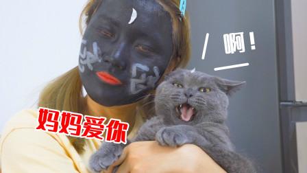 主人把脸涂黑去见猫,猫会什么反应?猫:吓人!