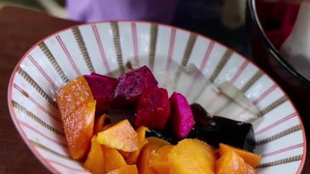 胖妞下午茶自制水果冰粉,酸甜可口真好吃