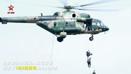 【第一军视】神兵天降!特战队员1机8绳同时展开机降 瞬间完成着陆