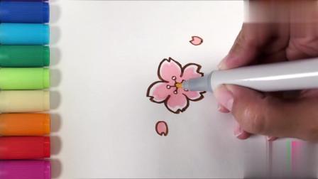 儿歌多多儿童简笔画 春天到百花香 领着宝贝画春天的美丽樱花