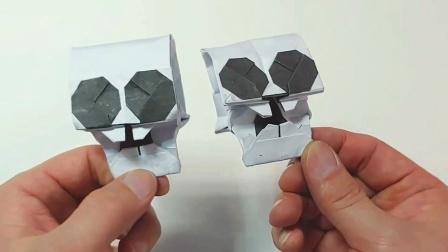 教你折纸立体骷髅头,很有意思的折纸头骨视频教程