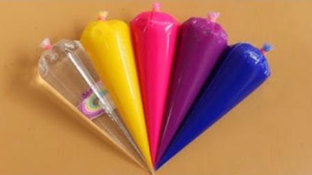 把彩色裱花袋史莱姆混合在一起,无硼砂,成品美哒哒