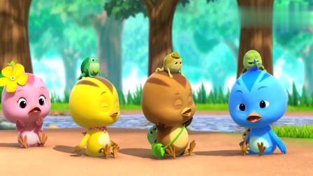 萌鸡小队:小蟾蜍坐萌鸡身上,让萌鸡背一背,小萌鸡累的坐地上