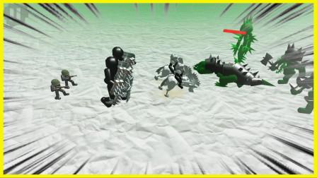 铁甲骑士和步兵组合,轻松打败铁甲恐龙僵尸!