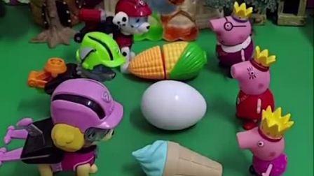 小猪一家把好吃的分给汪汪队,他们跟着汪汪队去玩了,乔治不愿意把蛋糕分给小砾