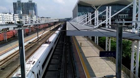 2020年9月20日,G6156次(珠海站-怀化南站)本务中国铁路广州局集团有限公司广州动车段长沙动车运用所CRH380B-3628广州北站通过