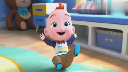 超级宝贝:哥哥开始穿袜子,小朋友注意分清正反面,不要穿错了