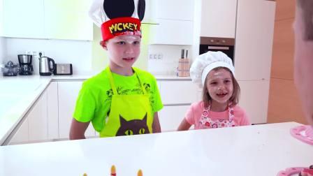 美国儿童时尚,小女孩与小男孩,给爸爸做蛋糕