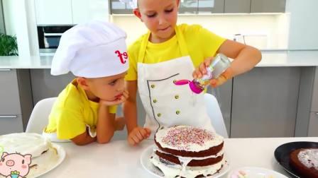 美国儿童时尚,小男孩为妈妈庆祝生日,好好看的生日蛋糕啊