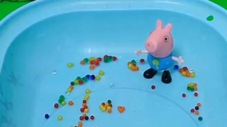 乔治的泡大珠变小了,佩琪姐姐告诉他是因为缺水,他们就在里面加了水