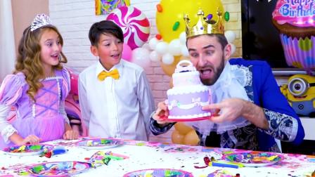 萌娃小可爱们给爸爸准备的蛋糕太漂亮啦,萌娃:生日快乐,爸爸!