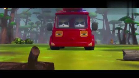 宝宝巴士动画片森林出现大火,奇奇的灭火车陷入了泥坑