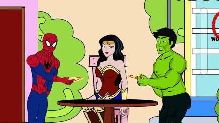 蜘蛛侠:巨人和蜘蛛侠比赛看谁家做的披萨好吃些