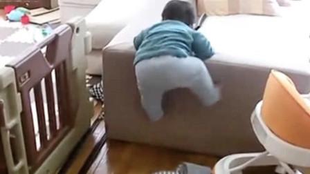 宝宝看见吸尘器,直接被吓得嚎啕大哭,撅着屁股往沙发上爬太逗了