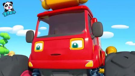 宝宝巴士:奇奇和怪兽车们来到恐龙世界,怪兽车与恐龙比谁厉害,凶猛的霸王龙都被它们吓跑了