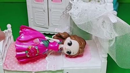 贝儿生病了,白雪和长发公主给贝儿送糖,贝儿真幸福呀