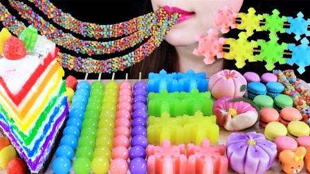 把彩虹加入甜点中,看起来太治愈了,吃前一定要记得拍照