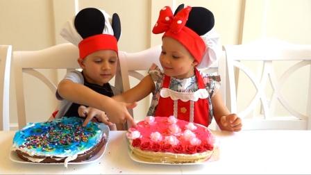 能干的萌娃们亲手为爸爸做了一个生日蛋糕,味道怎么样呢!