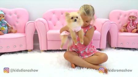 萌娃小可爱家里有一只小狗,这只小狗是谁的呢