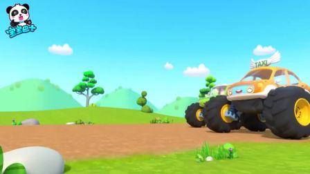 宝宝巴士:四辆怪兽车比赛,怕伤到路上小绵羊,紧急刹车摔倒了