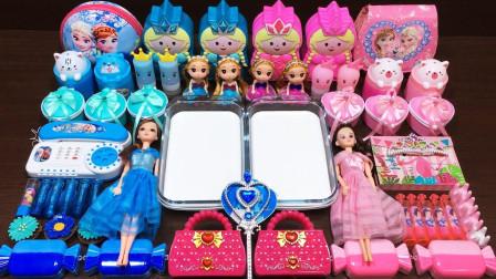 芭比娃娃和冰雪奇缘一起做粉色蓝色混合无硼砂泥,充满了少女心