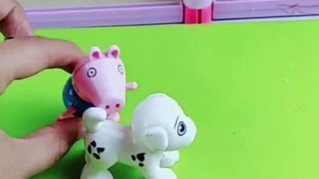 猪爷爷给乔治买了小狗玩具,佩奇也想要小狗玩具,猪爸爸用积木做了一个小狗玩具