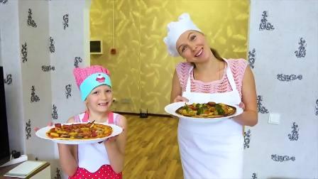 美国儿童时尚,小女孩与妈妈做好吃的披萨,你们觉得好吃吗