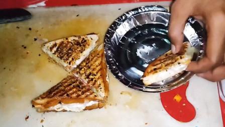 印度街头热卖三明治,奶油芝士搭配新鲜蔬菜,手艺让人眼界大开!
