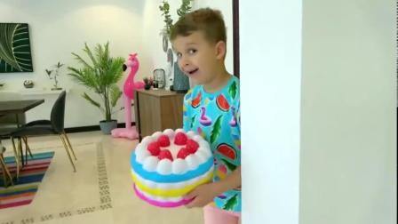 小男孩偷偷准备的生日蛋糕,准备给妹妹一个惊喜!