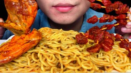 吃冰达人!吃意大利咖喱面,辣子鸡,辣鸡腿,听不一样的咀嚼音!
