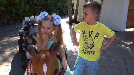 萌娃小可爱也想拥有一辆像妹妹一样的马车,他会怎么做呢?