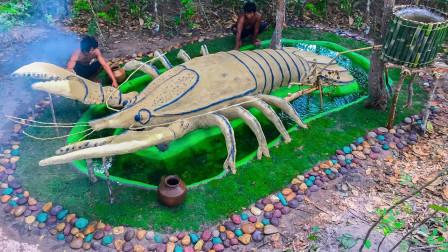 """农村小伙为饲养小龙虾,打造""""龙虾城堡"""",成品太壮观"""