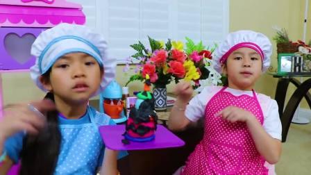 国外萌宝时尚,小女孩做生日蛋糕,去看看吧