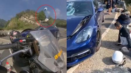 北京保时捷山路逆行撞飞摩托车致2人受伤