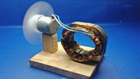 用磁铁块排列电磁圈进行发电