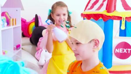 国外儿童时尚,小萝莉化身发型师,一起去看看吧