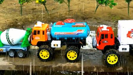 汽车工程车过桥掉进泥潭了 趣味益智