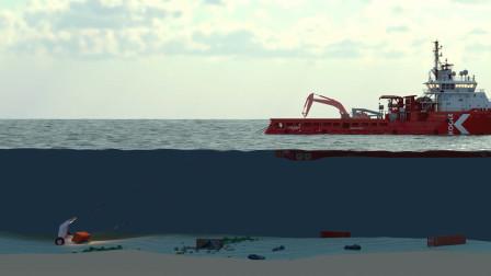 深海里集装箱的打捞方法,最大程度保证货物完整性!太高效了!