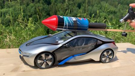 将窜天猴粘在汽车模型上,点燃后会怎样?场面太壮观了!