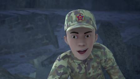 正在救人的紧急关头,突然出现余震,军人抱着孩子赶紧跑