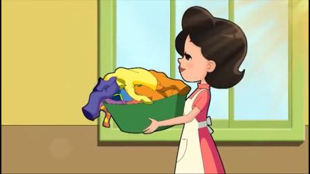 大头儿子:围裙妈妈真辛苦,要洗好多衣服,妈妈不容易