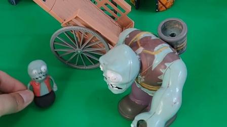 奥特曼被巨人僵尸抓了奥特曼,小鬼说他太厉害了,就偷偷放了他们