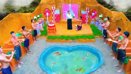 """农村小伙向女朋友求婚,徒手挖了一座""""婚礼教堂"""",太给力了!"""