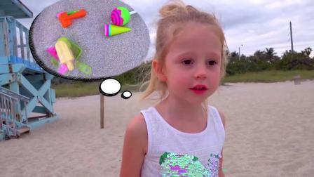 国外萌娃时尚,小公主和宝爸在沙滩上玩,高兴极了