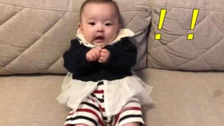 4个月大宝宝一本正经地聊天,边说还边打奶嗝,小大人的模样太萌了